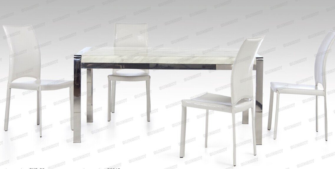 Modern Marble Top Dining Table With Stainless Steel Legs S5112