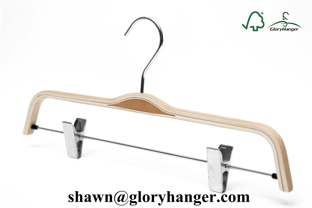 Natural Laminated Wood Pants/Trousers/Skirts Hanger with Flat Metal Clips