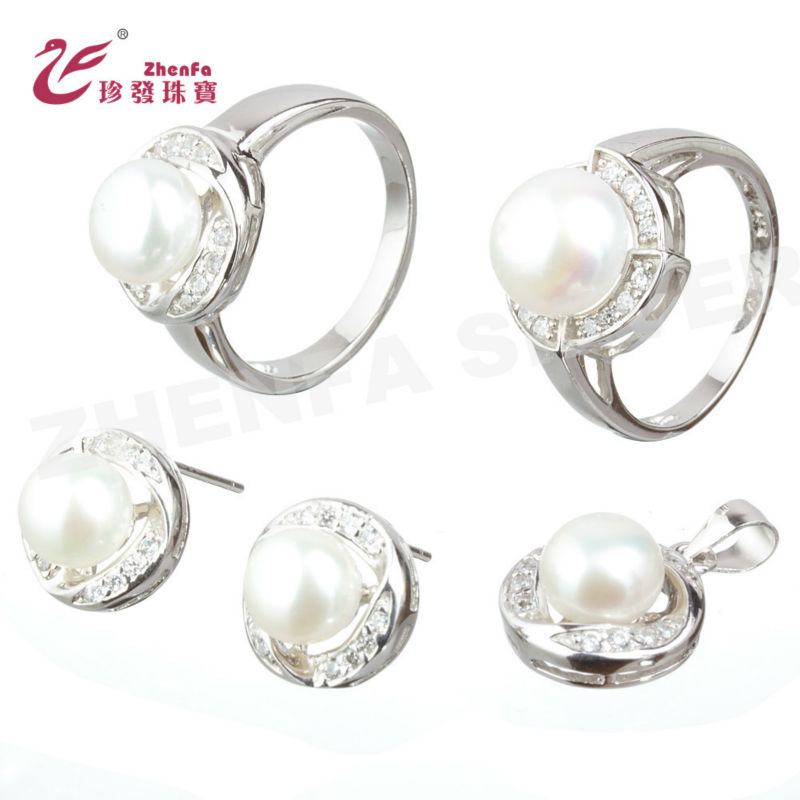 925 sterling silver pearl set , 2012 fashion jewelry set