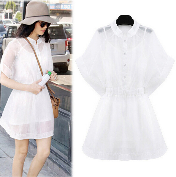5d79072b65 2015 Summer Style Summer Sexy Casual Dress Vestidos Woman Party White Silk Dresses  Female Kawaii Vestido