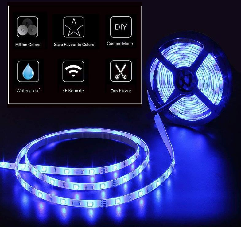 중국 led 빛 strip 12 v 5 m rgb ip65 waterproof rgb led strip kit 5050 + 5A power supply + 24 키 (44key) 컨트롤러