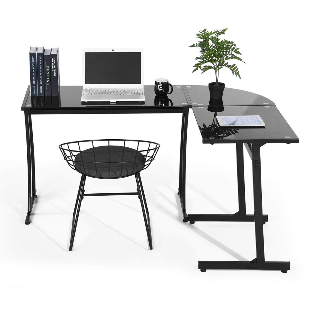 Office desk l shaped computer black glass office table workstation home office 3 piece