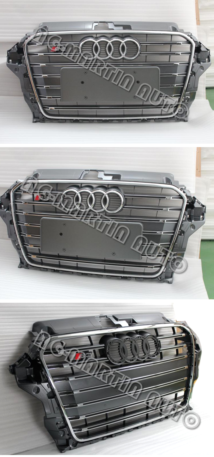ABS Chrome frame gray S3 facelift racing grill front bumper radiator grills car grille for Audi A3 S3