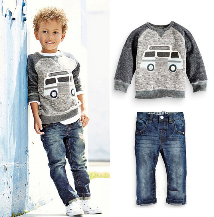 kids clothes baby boys clothing set cartoon t-shirt + infant boys clothes toddler cotton shirt jeans autumn clothes set