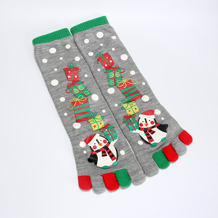 2018 Hot Sale Christmas Funny Knee High Five Toes Socks For Adults ...