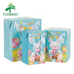 china stock wholesale cheap cute bunny creative color printing box shape paper gift packing favor easter bag with ribbon handle