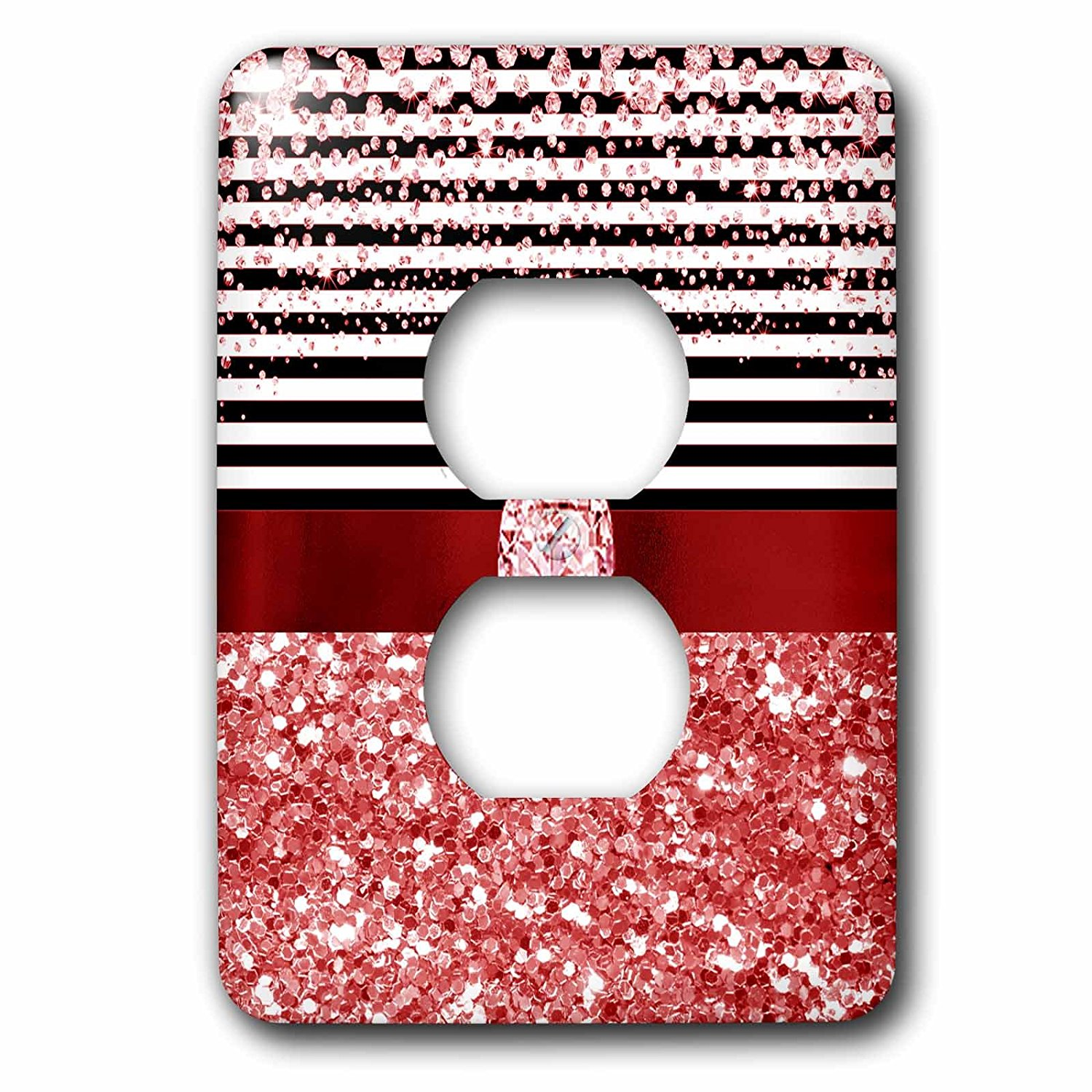 3dRose Anne Marie Baugh - Glitter and Chic - Diamond Stripes, Red Digital Glitter and Diamond Design - Light Switch Covers - 2 plug outlet cover (lsp_267804_6)