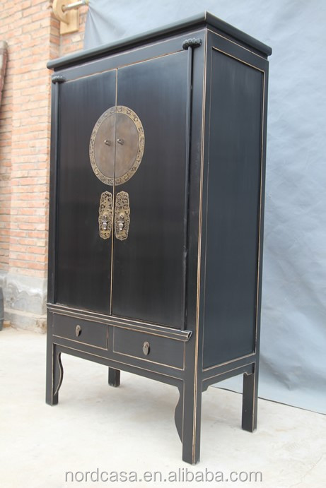 Red Or Black Chinese Wedding Tall Antique Cabinet In Reclaimed Wood With Style Wardrobes
