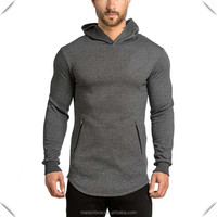 new fashion mens longline curved hem pullover hoodie with side zippers grey plain cotton elastane fleece fitness oem gym hoodie