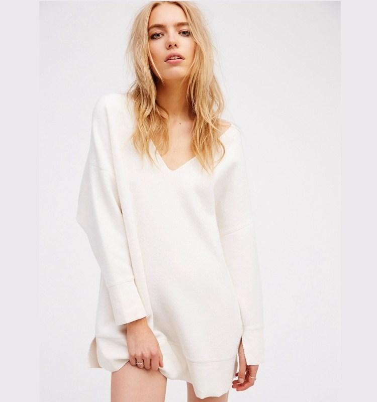 59057166ce1 Женщины с длинным рукавом Теплый v-образным вырезом свитер сексуальный  короткий мини-платье