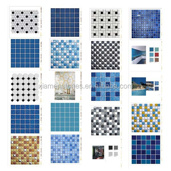 Factory Supply All Kinds Of Swimming Pool Tiles Both Ceramic And Gl 48x48mm