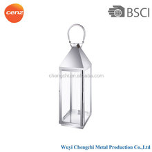 stainless steel and glass silver garden lantern pillar candle holder