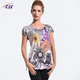 Fancy Design Low pollution Ladies Round Neck T-Shirt Digital Printing