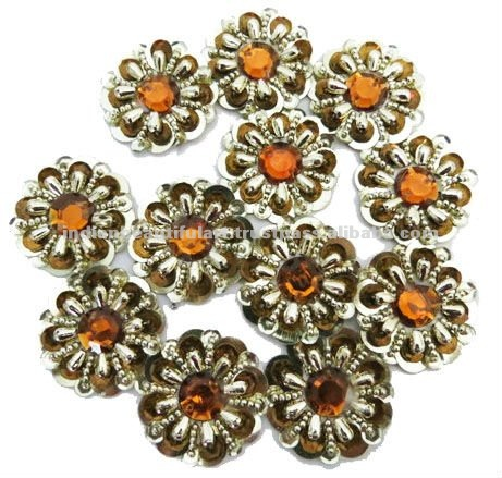 Light Brown Sequin Applique Silver Beaded Patch Sew On Craft India ...