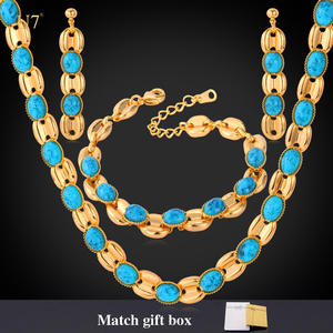 Turkish high quality synthetic turquoise stone jewelry set for women wedding