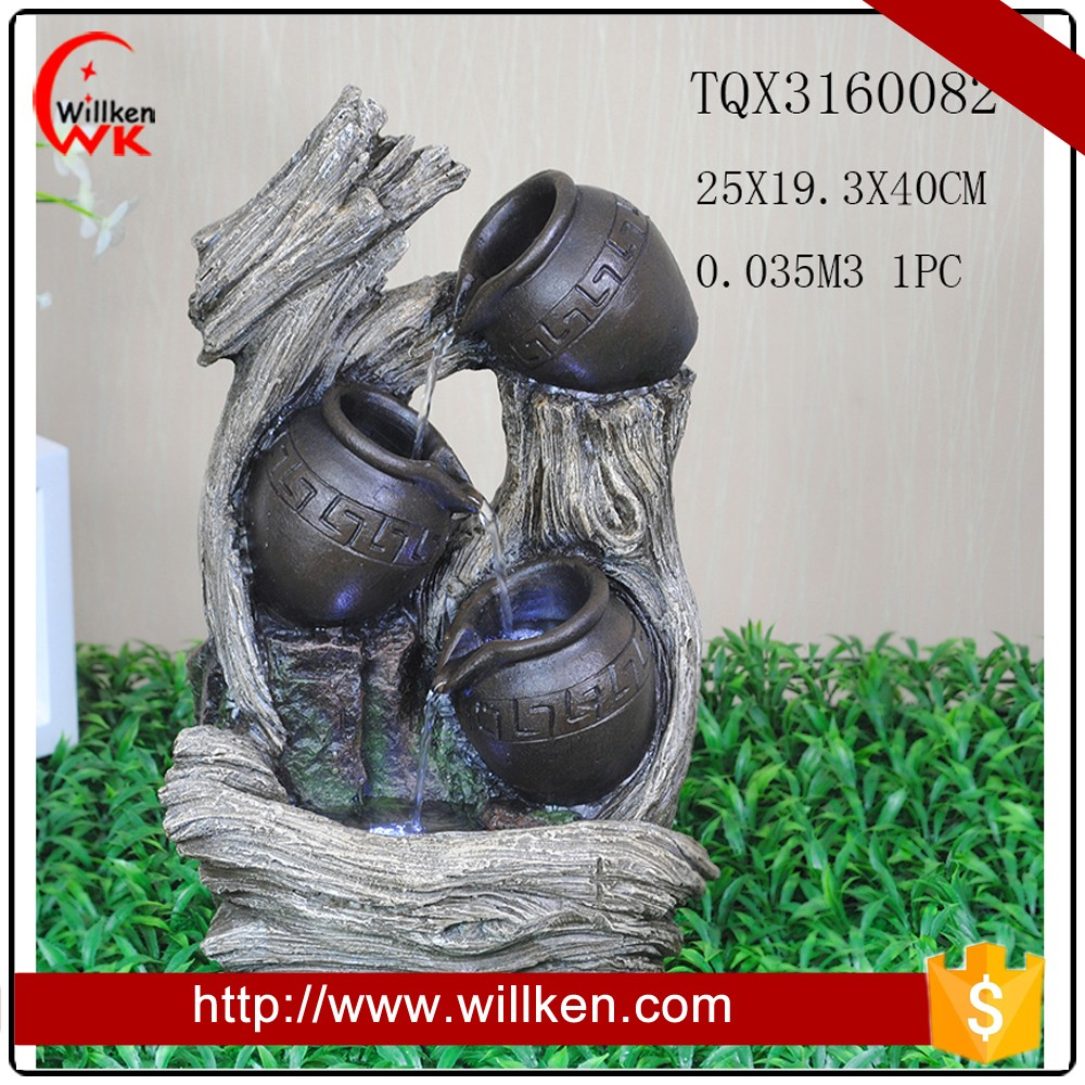 Polyresin small water pumps resin fountain with pot and tree trunk