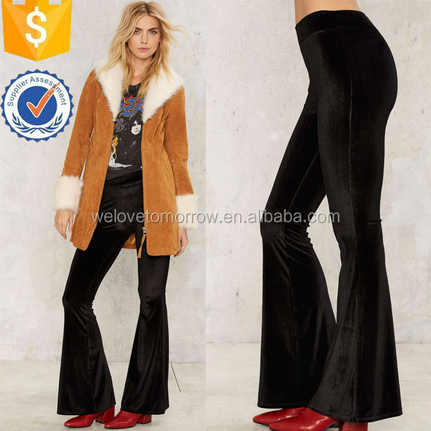 Ladies Black Velvet High-Waisted Stylish Flare Pants Manufacture Wholesale Fashion Women Apparel(TS0149P)
