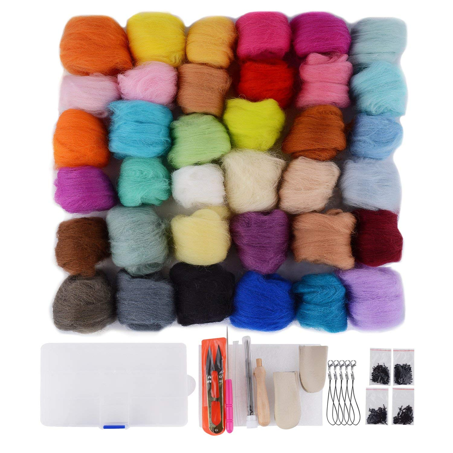 Felting Wool Misscrafts 45 Colors Wool Roving Fibre Needle Felting Supplies with Felting Tool Kit for DIY Felting Craft 45pcs Roving Wool 8pcs Felting Needles with Wooden Handle