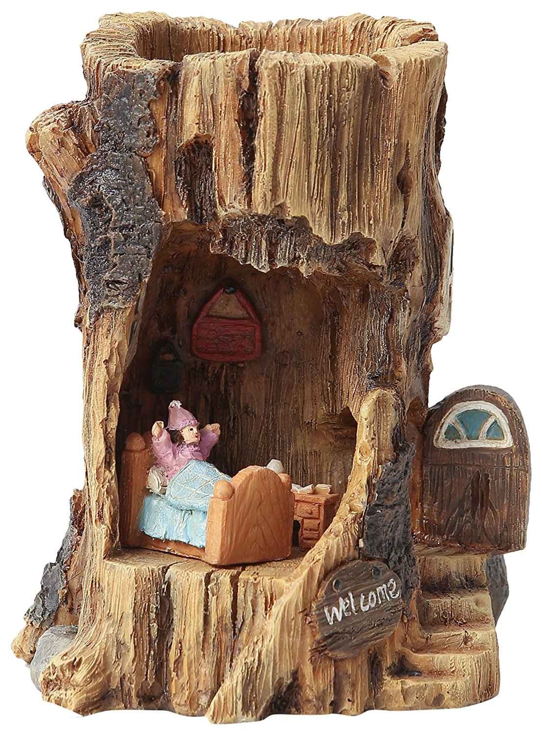 Winsome House Solar Log House Miniature Fairy Garden Set