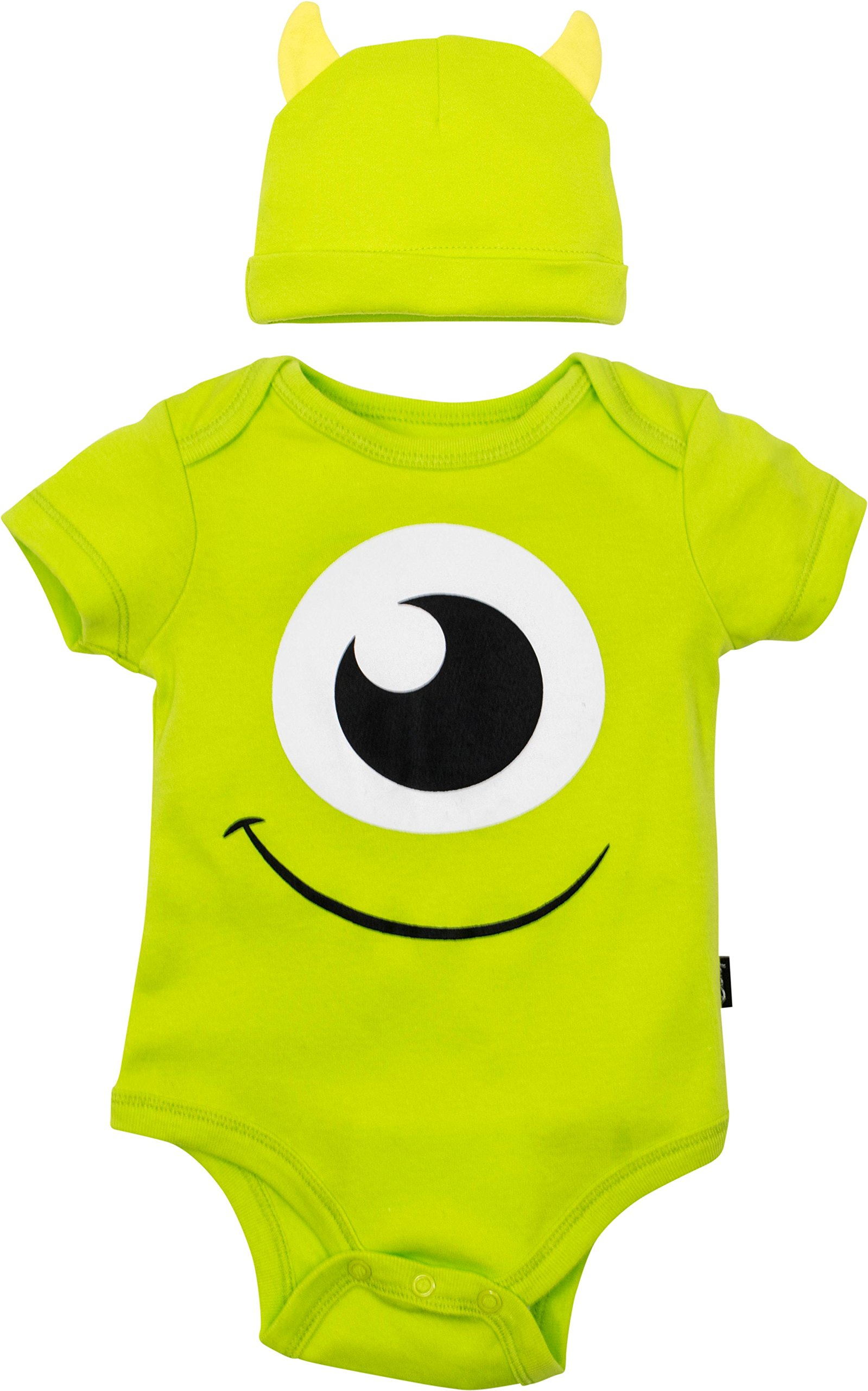 07c84f956f2d Get Quotations · Disney Pixar Monsters Inc. Mike Wazowski Baby Costume  Bodysuit and Hat Green