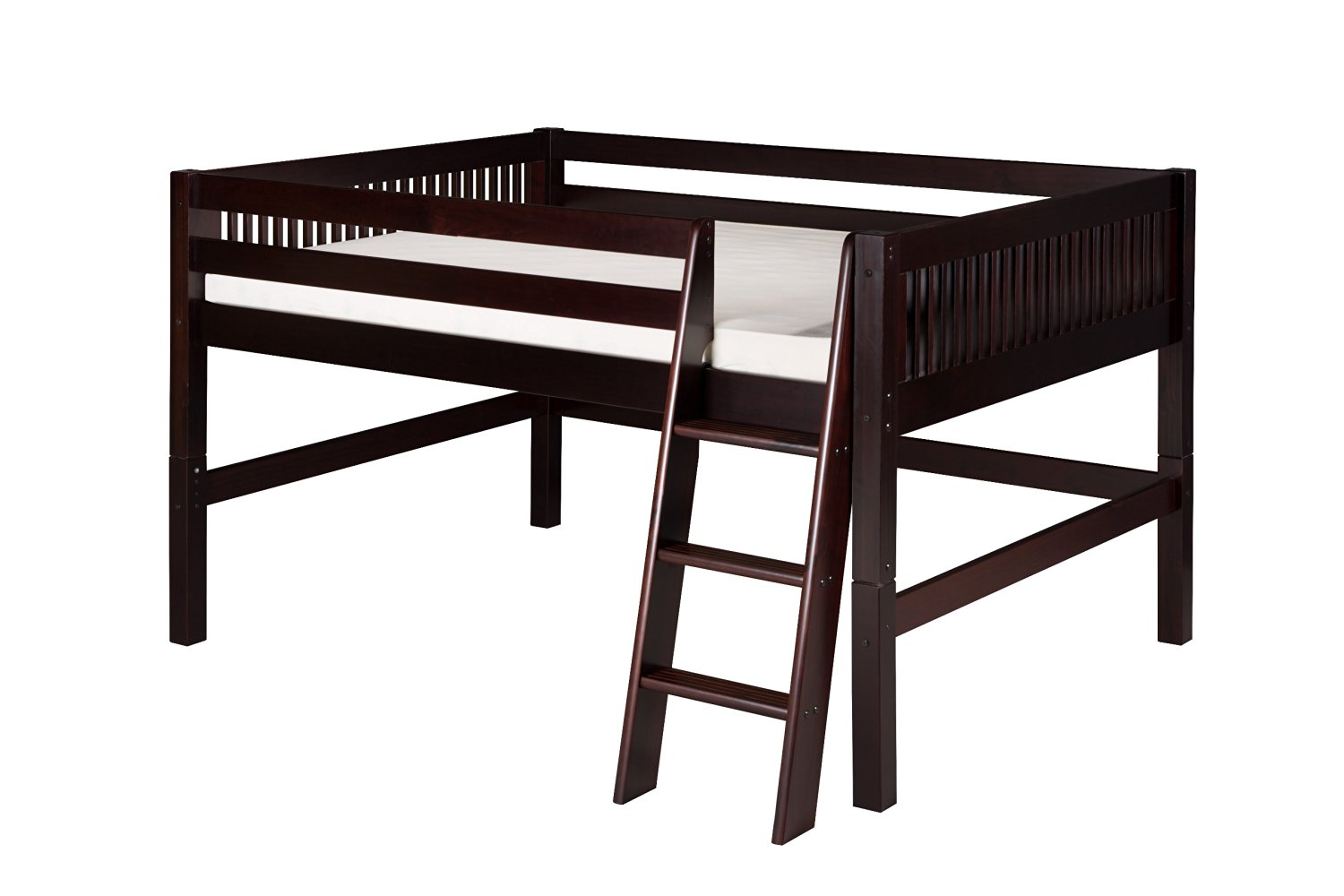Camaflexi Mission Style Solid Wood Low Loft Bed, Full, Side Angled Ladder, Cappuccino