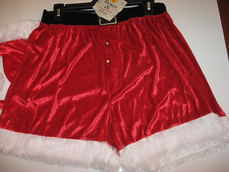 dd9b0fddf759 Get Quotations · Joe Boxer Mens Santa Claus Christmas Boxer Shorts & Hat -  Red