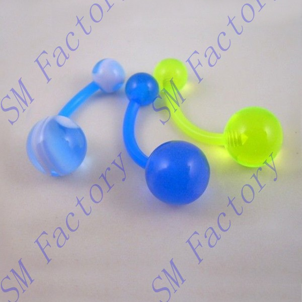 wholesale fashion acrylic flexible neon uv navel belly ring 14g bioflex banana body piercing jewelry --SMABR56026