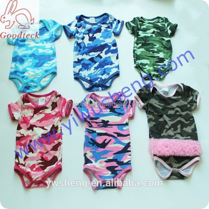 Fashionable custom design baby short sleeve rompers,infant rompers ,baby camo romper baby clothes baby wear