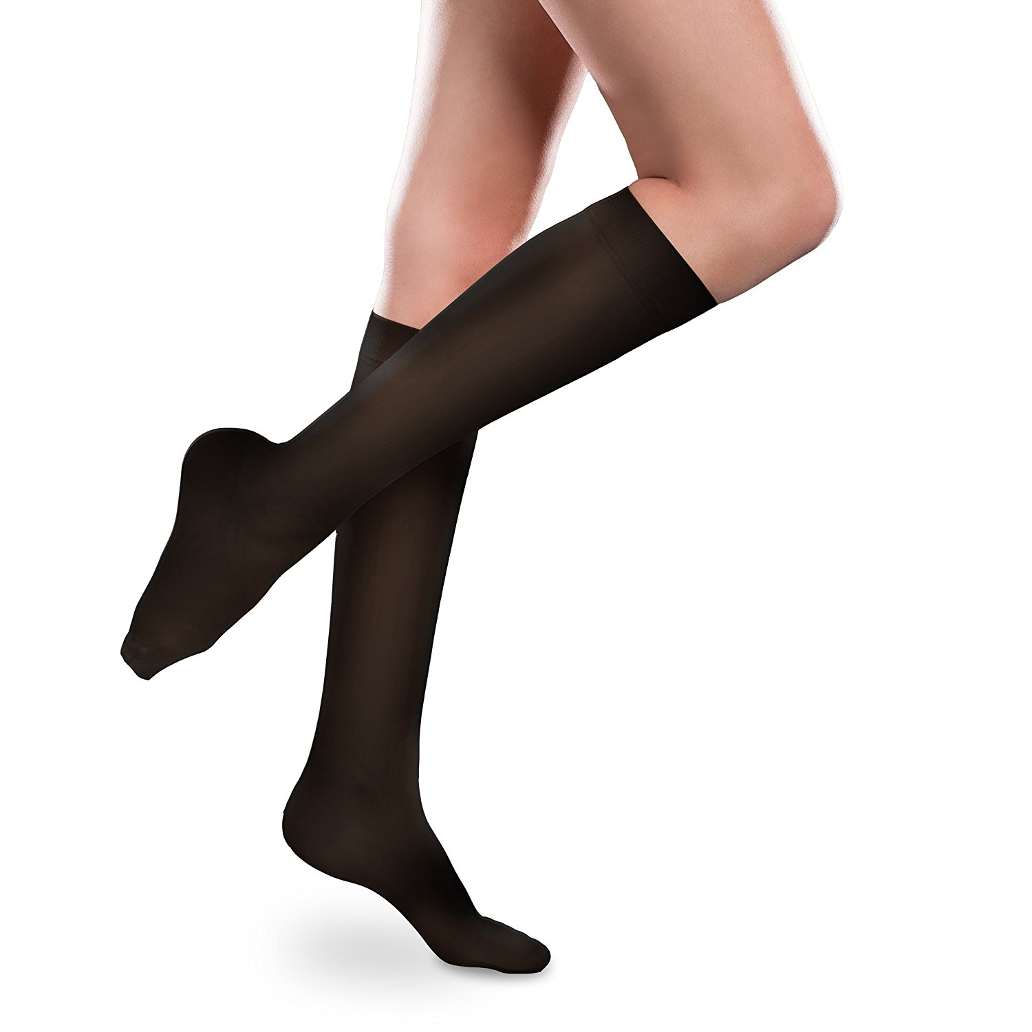 3e693645ba7 Get Quotations · Sheer Ease Women s Knee High Support Stockings - 30-40mmHg  Firm Compression Nylons (Black
