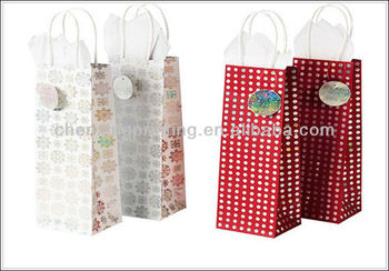 Custom Wring Tissue Paper Snowflake Red Polka Dot Xmas Gift Bag Large Bags Fabric Product On