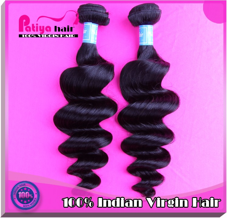 Sexy women spiral curl human hair natural black indian loose wavy double weft extension unprocessed hair wave