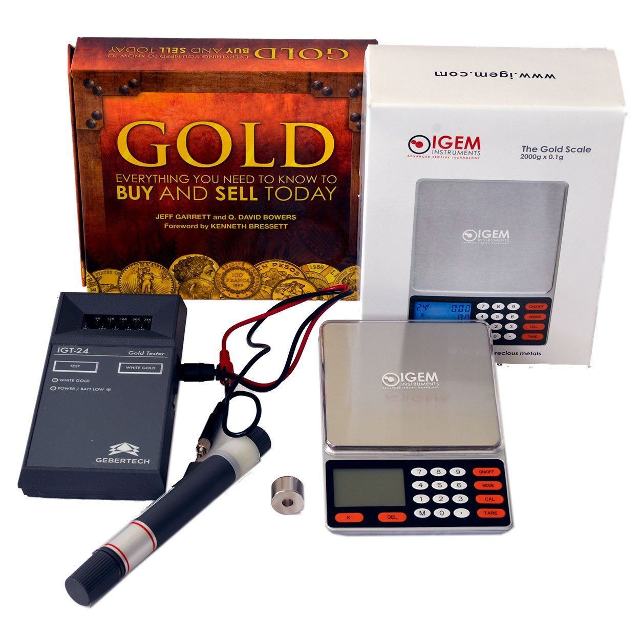 Gebertech IGT-24 Electronic Gold Tester Gold Buying Kit With Rare Earth Magnet, Portable Self Calculating Scale, and Gold Buying & Selling Book