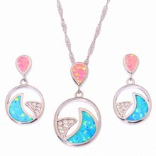 Fashion Party Jewelry Set Pink/Beige Opal stone Flower Necklaces Earrings Bracelets Sets For Women/Girls