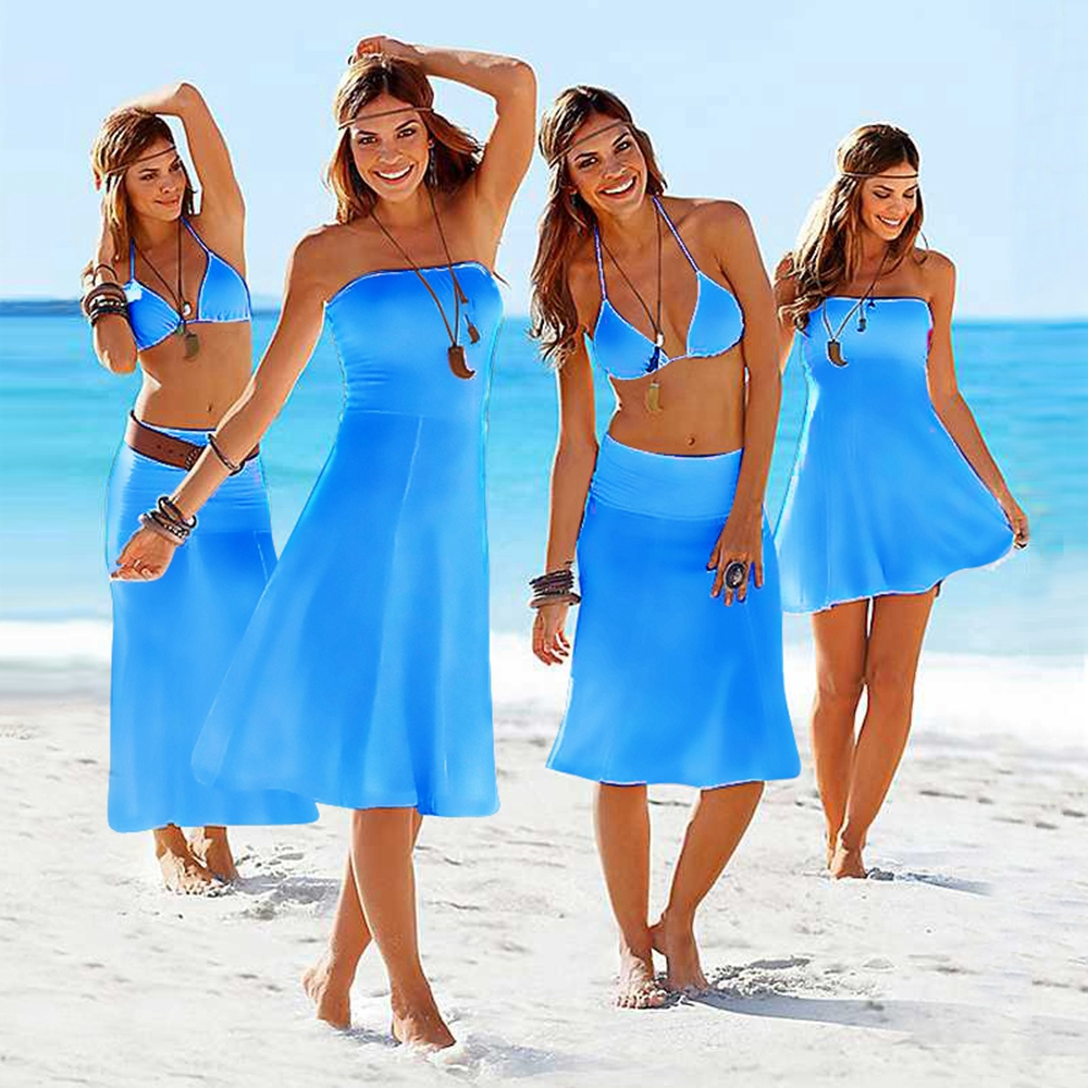 Multi wear pure color mature women summer beachwear dress