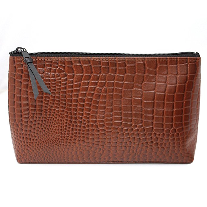 Brown Croc Leather Multi-Purpose Zippered Cosmetic Bag Pouch