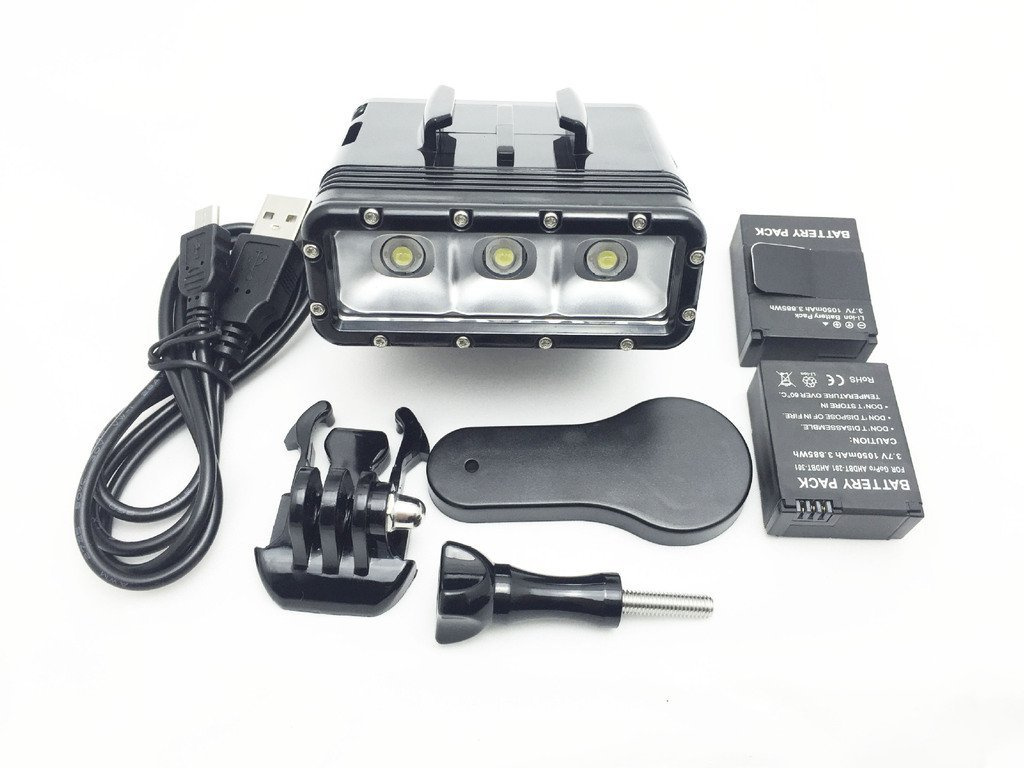 Waterproof Diving Light High Power Dimmable LED Light Underwater Light For Gopro Hero 4/3+/3/2/SJCAM SJ4000/SJ5000/Xiaomi Yi with Two 1000mAh Built-in Rechargeable Battery Charging