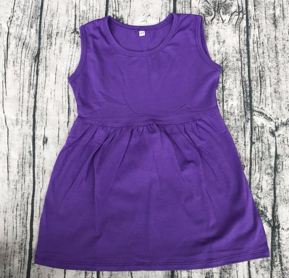 Casual Solid color children toddler sleeveless dresses knit cotton Cute baby girl Princess Party frock Wholesale Price