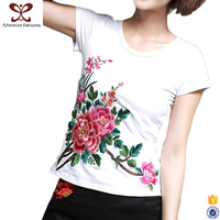 2017 Fashion 100% Cotton Embroidery t shirts Printing Wholesale White t-shirt For Women