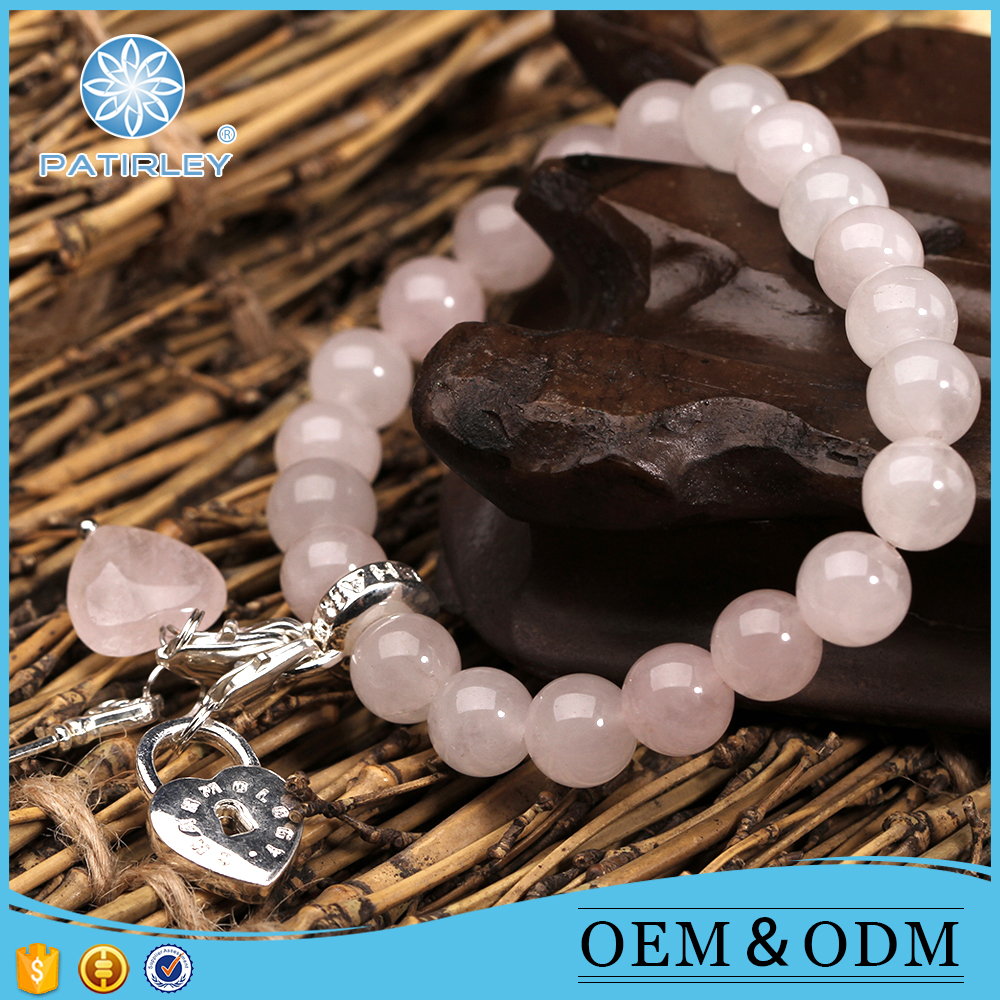 Hot new products nautral round rose quartz bracelets gemstone beads for export