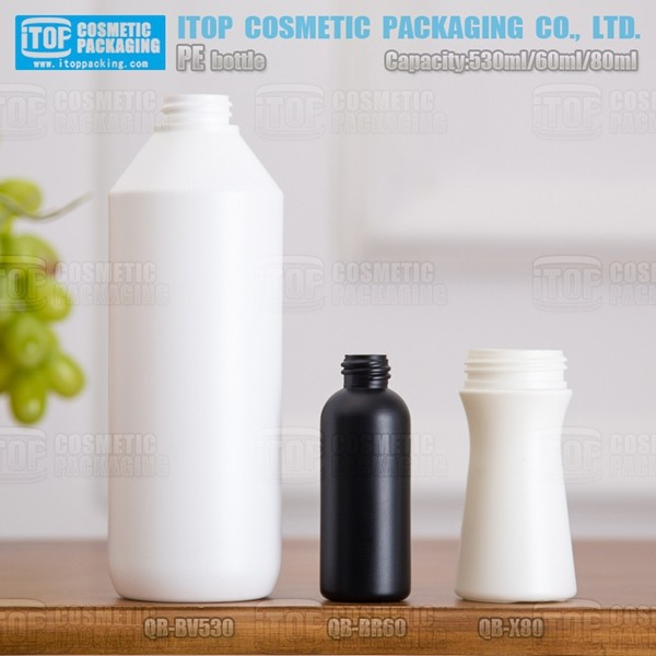QB-BR60 60ml classical and popular eco-friendly color customizable boston round mini 60ml pe bottle