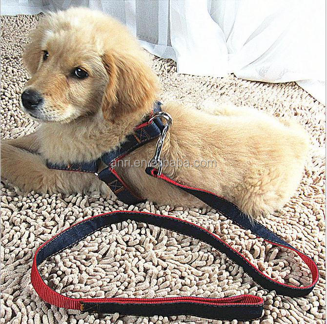 Jean Fabric Pet Harness Leashes 2 pieces Set Dog Head Halter Gentle Leader Pet Training Dog Head Collar No Pull