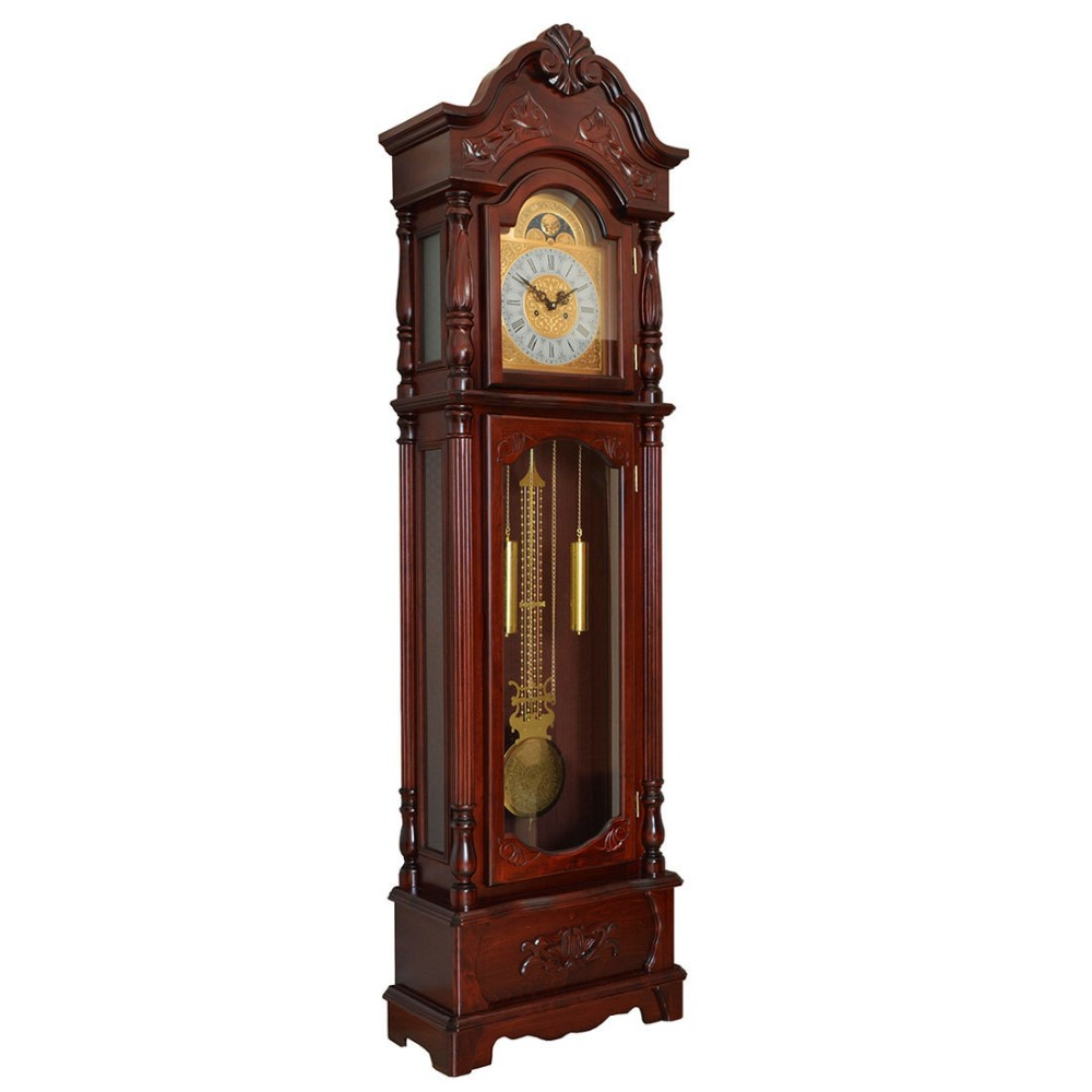Cheap solid wooden floor standing clock made in china
