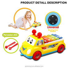 Newest Baby Musical Cartoon Bump and Go Car Toys with Serinette