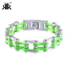 RIR High Quality Bike Chain Bracelet Green In Stainless Steel Jewelry Men
