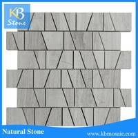 Natural wooden vein gray marble wall decorative mosaic tile in 12x12