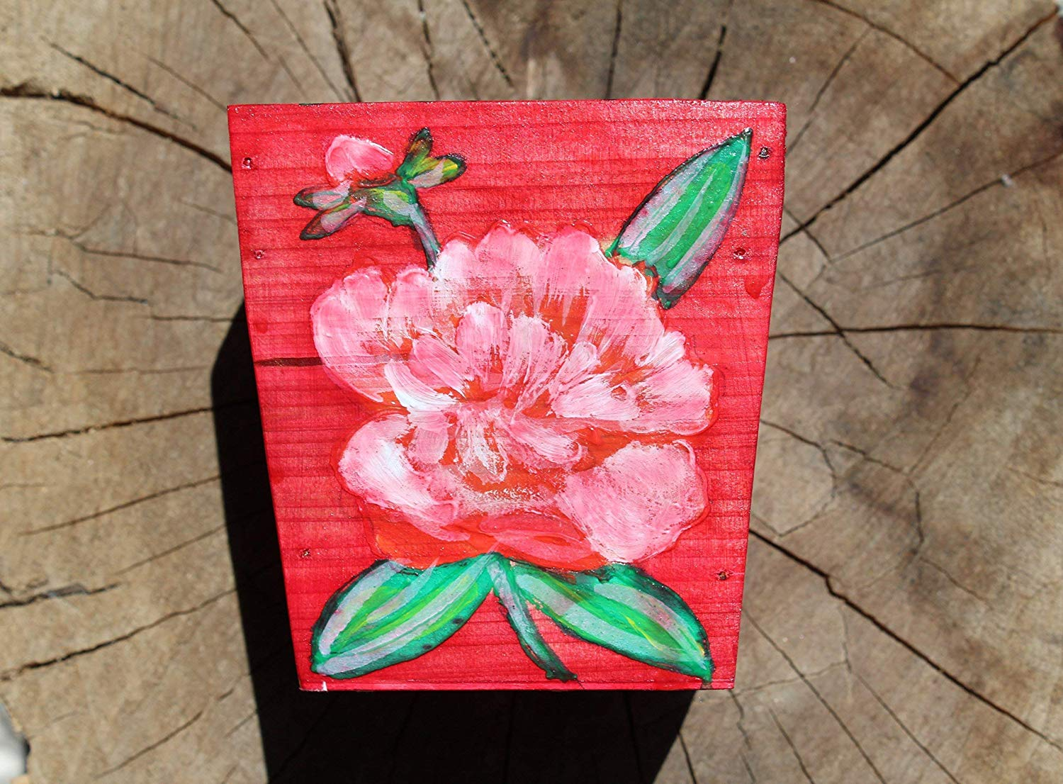 SALE!!!20% OFF,WOOD,Hand Painted Pot with Acrylic Red Rose,Wooden Hanging,Pots made of Wood,Red Rose Wooden Planter,Red Rose in Pot,Miniature Wall Art