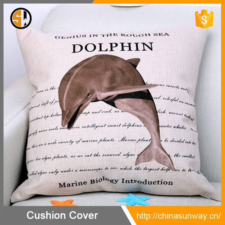 Wholesale In Stock 18 X 18 Inch Ocean Series Cotton Linen Decorative Throw Pillowcase Cushion Case, (Dolphin)
