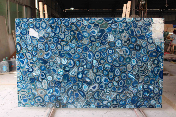 Luxury Stone Blue Agate Slabs For Wall Decoration