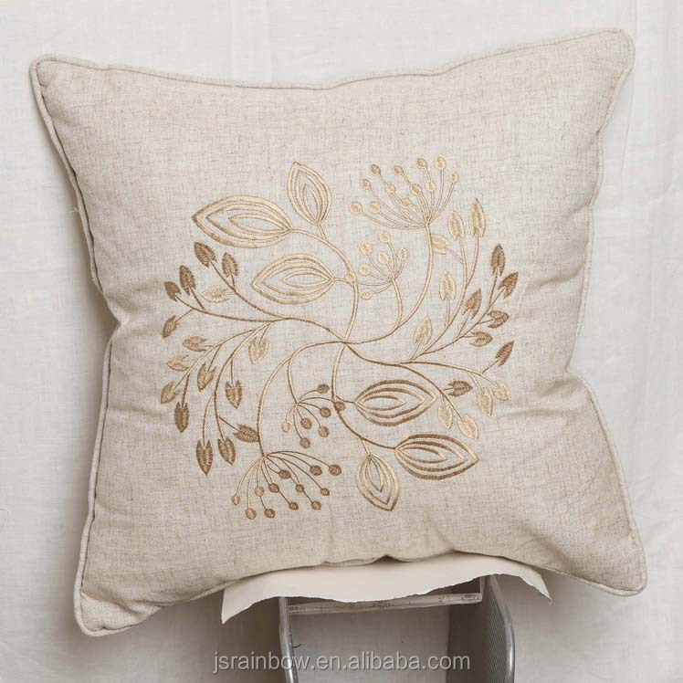 Hot Sale Polyester Linen Custom Outdoor Beach Sofa Chair Backrest Floor  Cushion Cover Embroidery Design