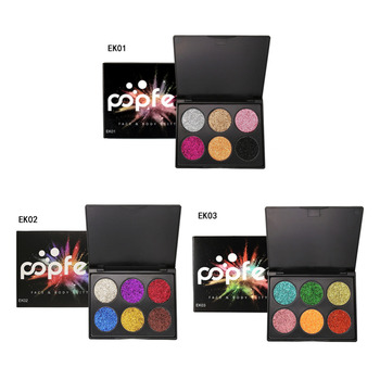 Popfeel 6 colors Diamond Golden eyeshadow make up Glitter Eye Shadow Palette Shiny Eyeshadow Palette Makeup highlight Cosmetics
